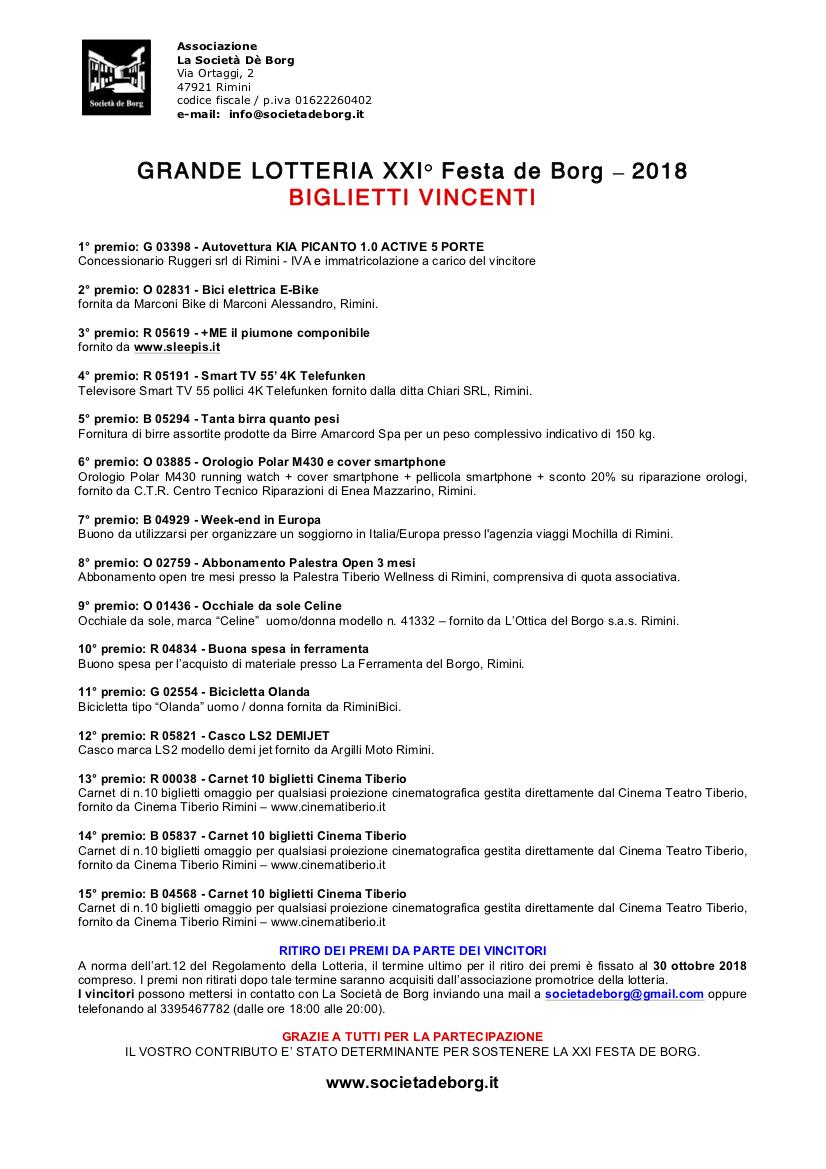 Biglietti Vincenti Lotteria 2018